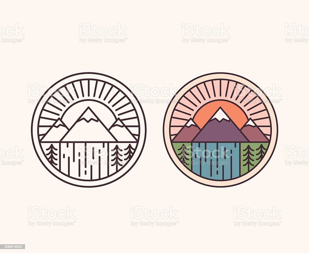 Mountain line emblem vector art illustration