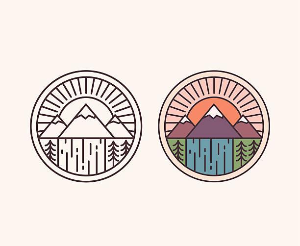 mountain-emblem - nationalpark stock-grafiken, -clipart, -cartoons und -symbole