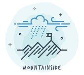 Line Style Vector Illustration for Mountainside.