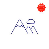 Cloud and Mountain Icon with Editable Stroke and Pixel Perfect.