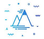 Mountain outline style icon design with decorations and gradient color. Line vector icon illustration for modern infographics, mobile designs and web banners.