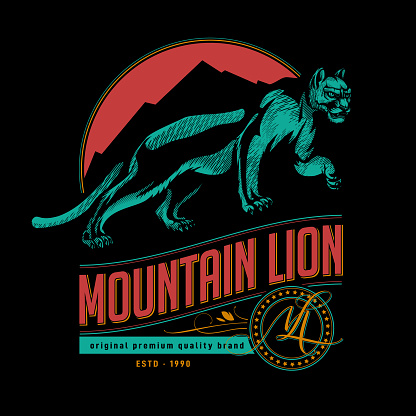 Mountain lion label tag design.