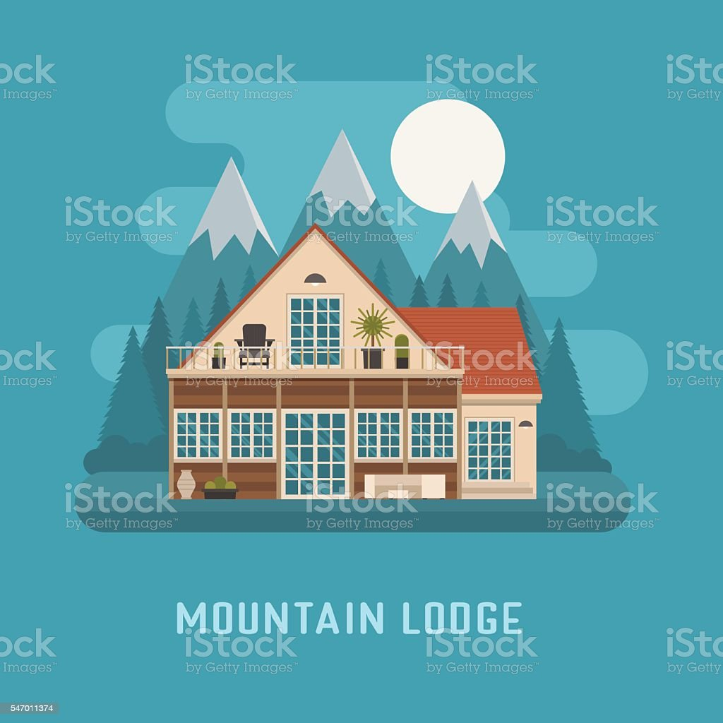 Mountain Lodge House Landscape. vector art illustration
