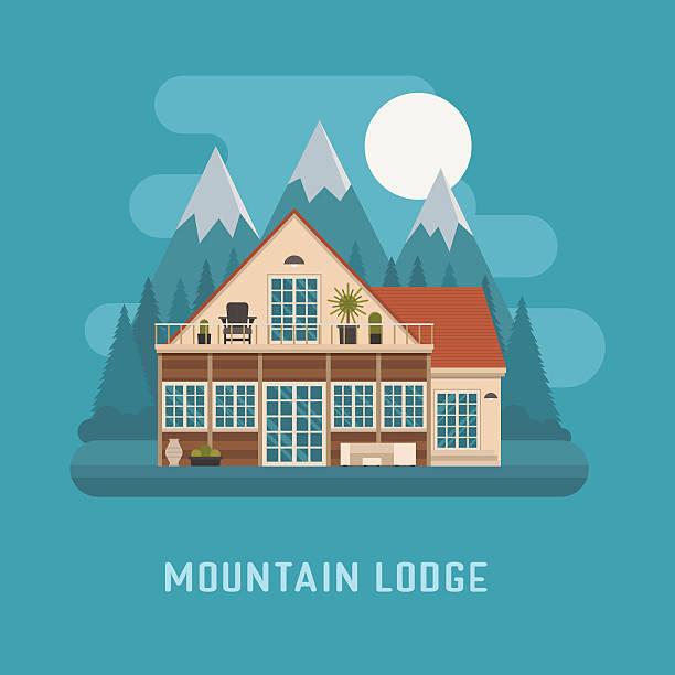 bildbanksillustrationer, clip art samt tecknat material och ikoner med mountain lodge house landscape. - summer sweden