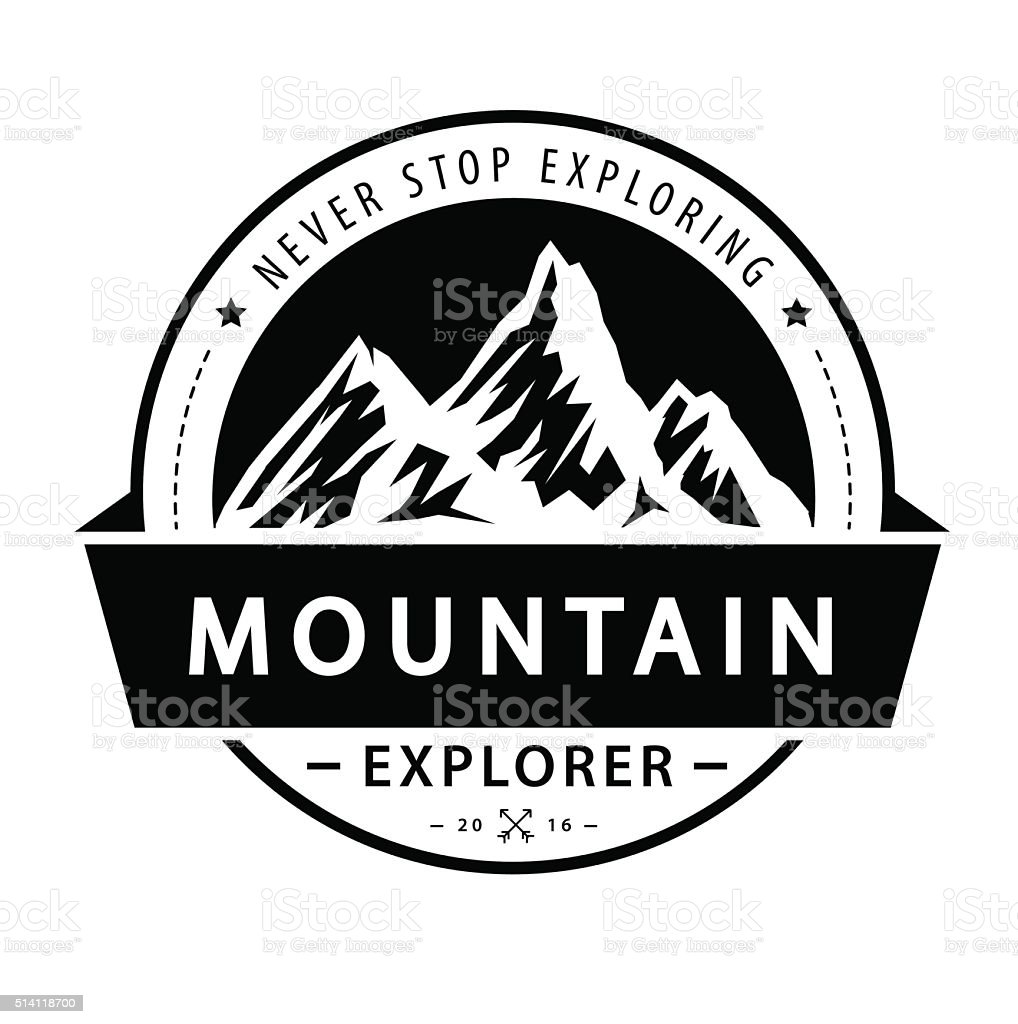 Mountain logo emblem. Adventure retro vector illustration. vector art illustration