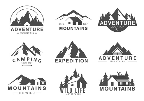 Mountain logo flat vector illustration set. Design element sign logo stamp collection of camping outdoor tourism adventure, rocky mountain peaks, life in wilderness