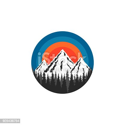 Mountain logo round shape, snow-capped peaks rocks and spruce forest landscape on a sun sunset background, a tourist brochure poster emblem or travel poster