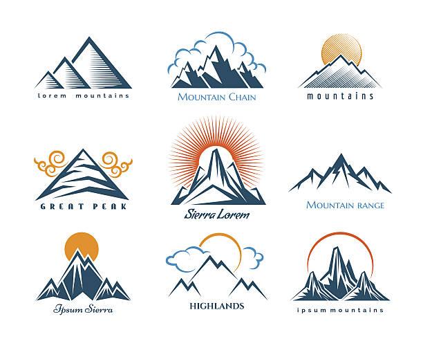 mountain-logo - landschaftstattoo stock-grafiken, -clipart, -cartoons und -symbole