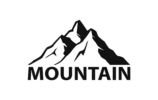 mountain logo silhouette in black color clipart