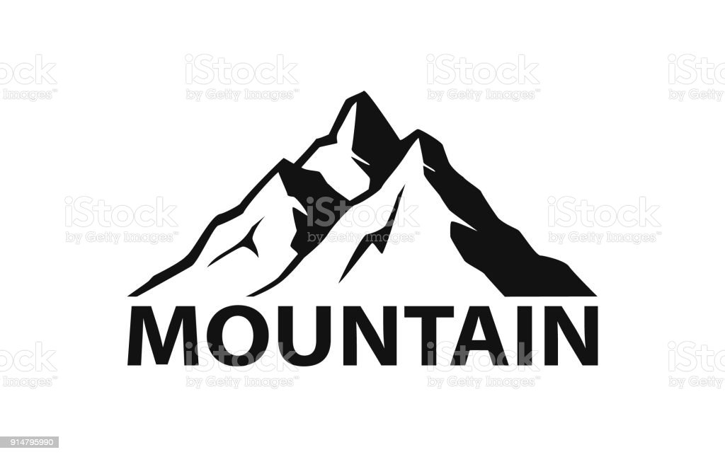 mountain logo silhouette in black color vector art illustration