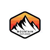 Mountain logo vector illustration. Mountain badge design vector template design. Trendy Mountains logo design vector illustration template for Outdoor Adventure.