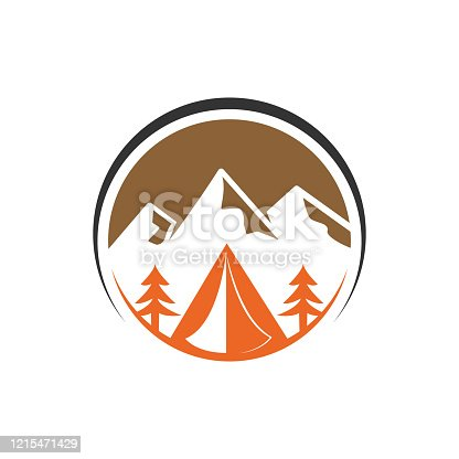 Mountain logo vector illustration. Mountain badge design vector template design. Trendy Mountains logo design vector illustration template for Outdoor Adventure.