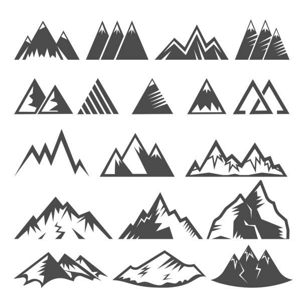 산과 겨울 산악 계곡 등산 암벽 등반 또는 아이콘 흰색 배경에 고립의 알프스 그림 세트에 여행 하이킹의 마운틴 로고 벡터 장착 로고 피크 - mountain top stock illustrations