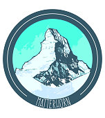 Matterhorn. Mountain in Hand Drawn Style for Prints Cards Fliers Banners Web. Vector Illustration