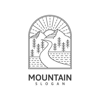 Mountain monoline outdoor nature vector