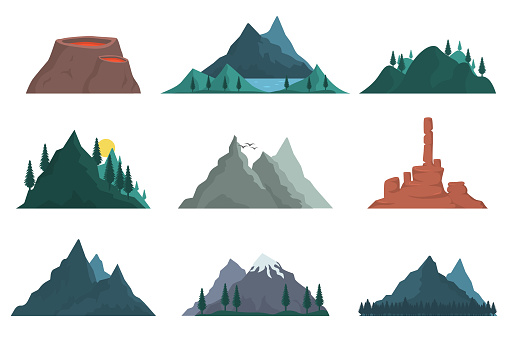 Mountain nature silhouette.