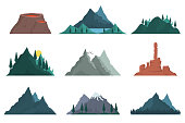 Set of elements of mountain nature silhouette. Various mountains many vector illustrations. Nature landscape, volcano, hilltops, iceberg, mountain range, mound. Outdoor travel, adventure, tourism.