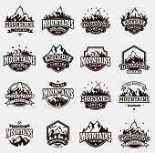Mountain outdoor vector icons set camping travel labels, climbing or hiking badges