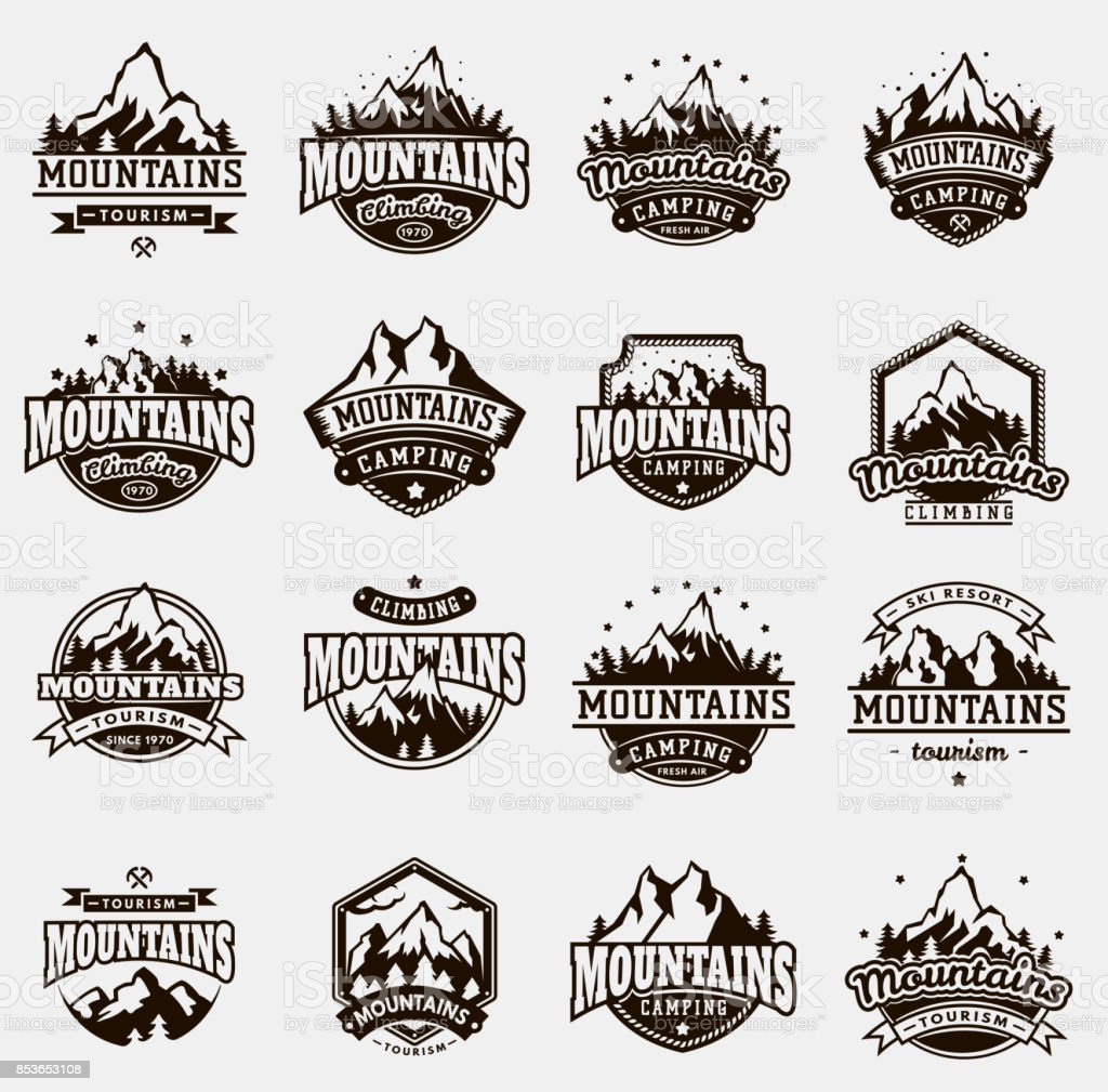 Mountain nature travel outdoor vector badge icons set vector art illustration