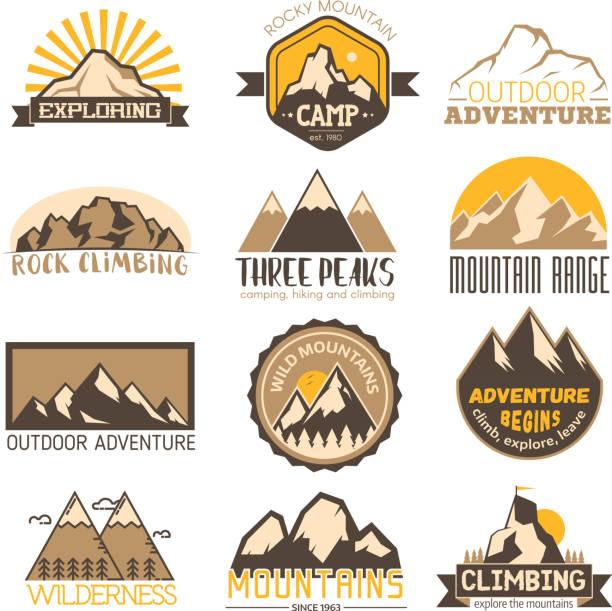 Mountain outdoor vector travel icons set vector art illustration
