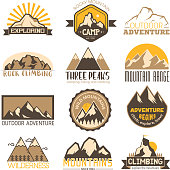 Mountain outdoor vector travel icons set