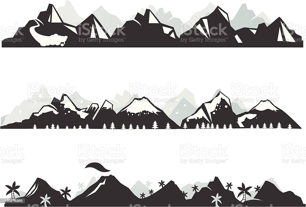Mountain panorama vector art illustration
