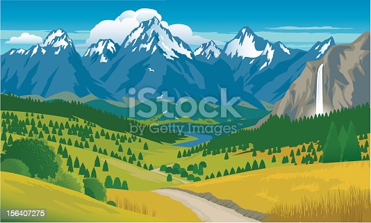 Snow capped mountains with a background of blue sky and clouds.Foreground is waterfall, pine trees, pathway and grassy hills. Art on easily edited, grouped layers
