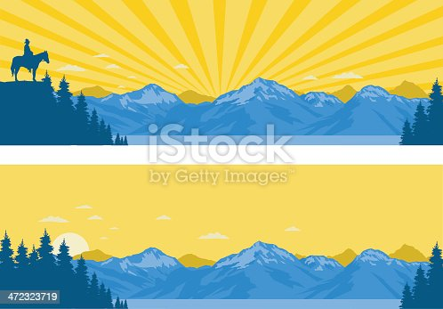 Tall fir trees beside a lake with snow-capped mountains in the background. Stylised sky is early morning or evening with rays of sunlight or not. One panel includes a horseman. Art on easily edited layers. Download includes a large high-res jpeg.