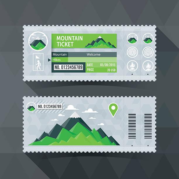 Mountain Park-Ticket Karte. modernes element design. – Vektorgrafik