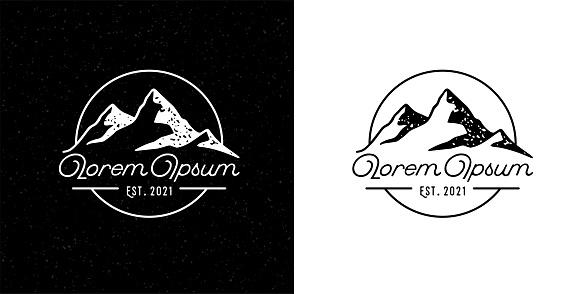Mountain peak adventure brand icon template design. Outdoor hiking company emblem. Vintage wilderness badge sign. Vector illustration.