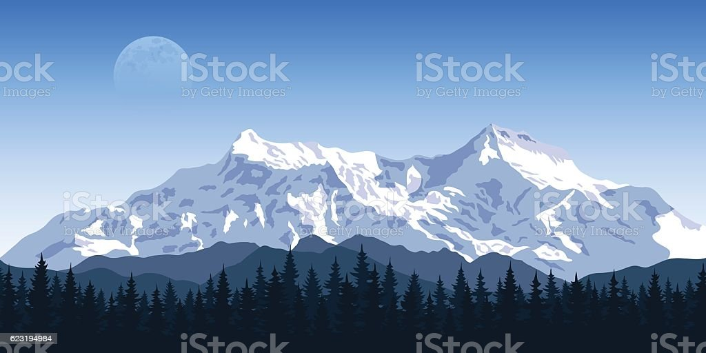 Mountain peak landscape vector art illustration