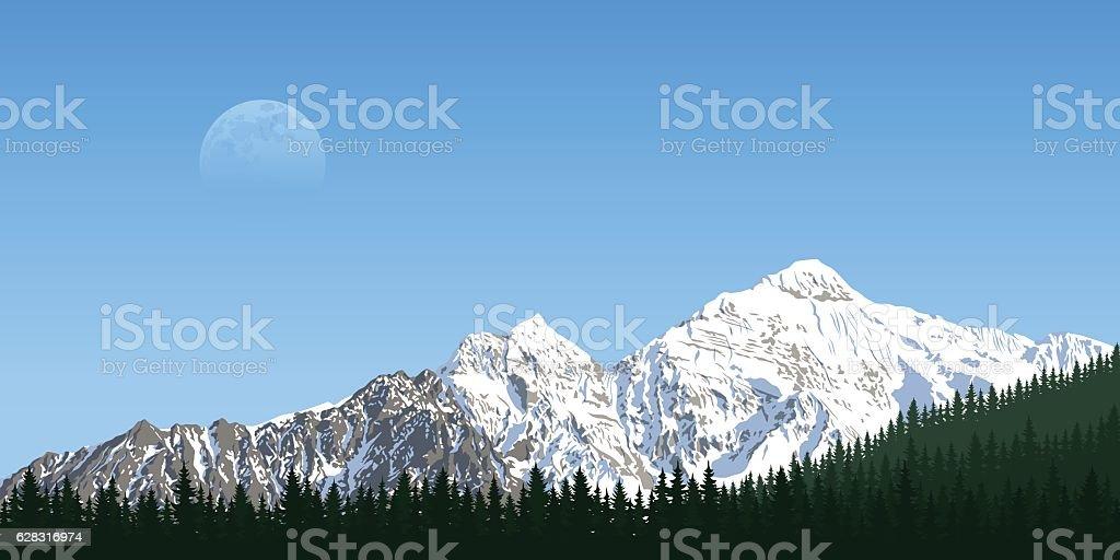 mountain peak landscape vector art illustration