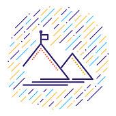 Line vector icon illustration of mountain peak.