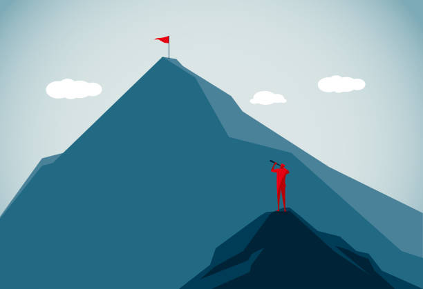 mountain peak commercial illustrator mountain top stock illustrations