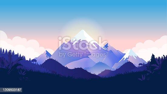 istock Mountain peak vector illustration 1209503187