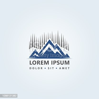 Stylized icon with mountains peaks silhouette and water - abstract logo design concept