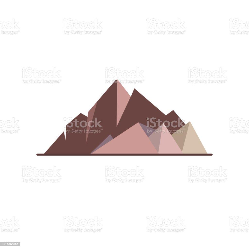 Mountain peaks icon in flat style vector art illustration