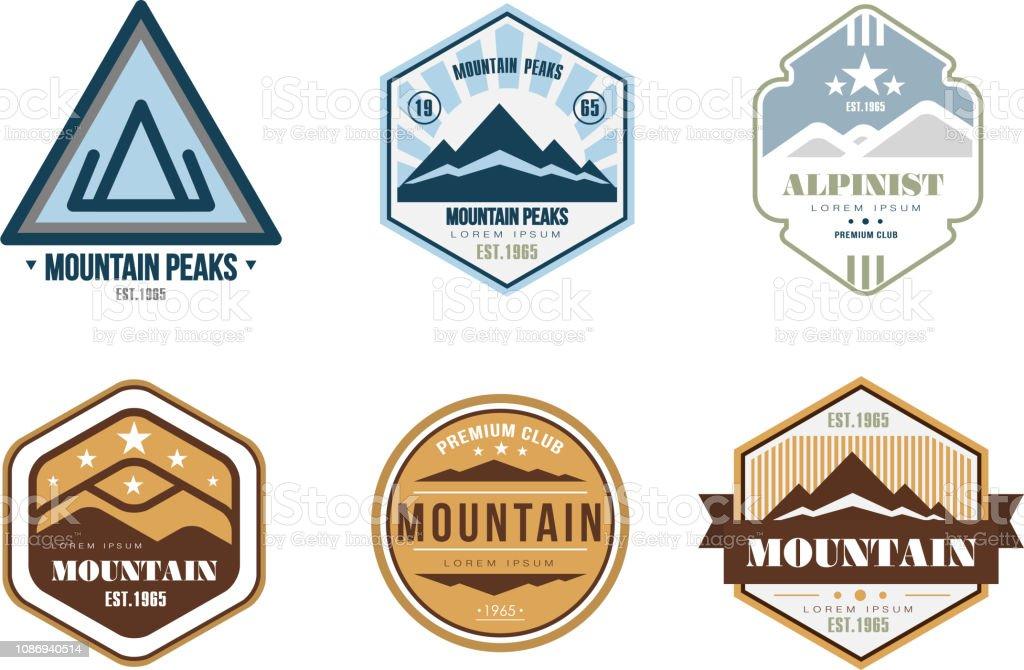Bergspitzen Logo-Design, Satz, camping, Bergexpedition, Wandern Vintage Etiketten Vektor-Illustration auf weißem Hintergrund – Vektorgrafik