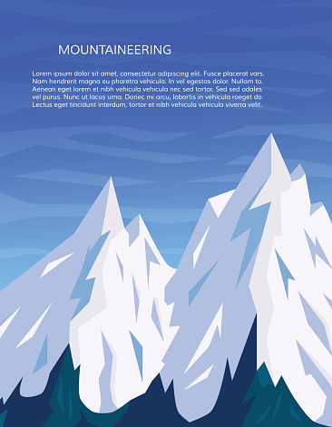 Mountain peaks vertical cover. Mountaineering and travelling, winter adventure concept. Climbing, hiking, trekking, outdoor vacation or extreme sports banner. Vector illustration.