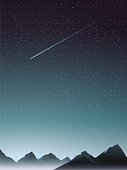 mountain perspective with comet when night