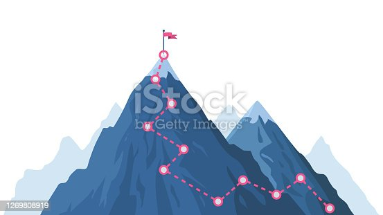 istock Mountain progression path. Climbing progress route, mountain peak overcoming, mountain climbing path with red flag on top vector illustration 1269808919