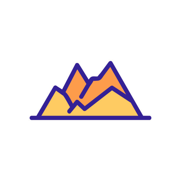 mountain range icon vector. Isolated contour symbol illustration mountain range icon vector. Thin line sign. Isolated contour symbol illustration adventure clipart stock illustrations