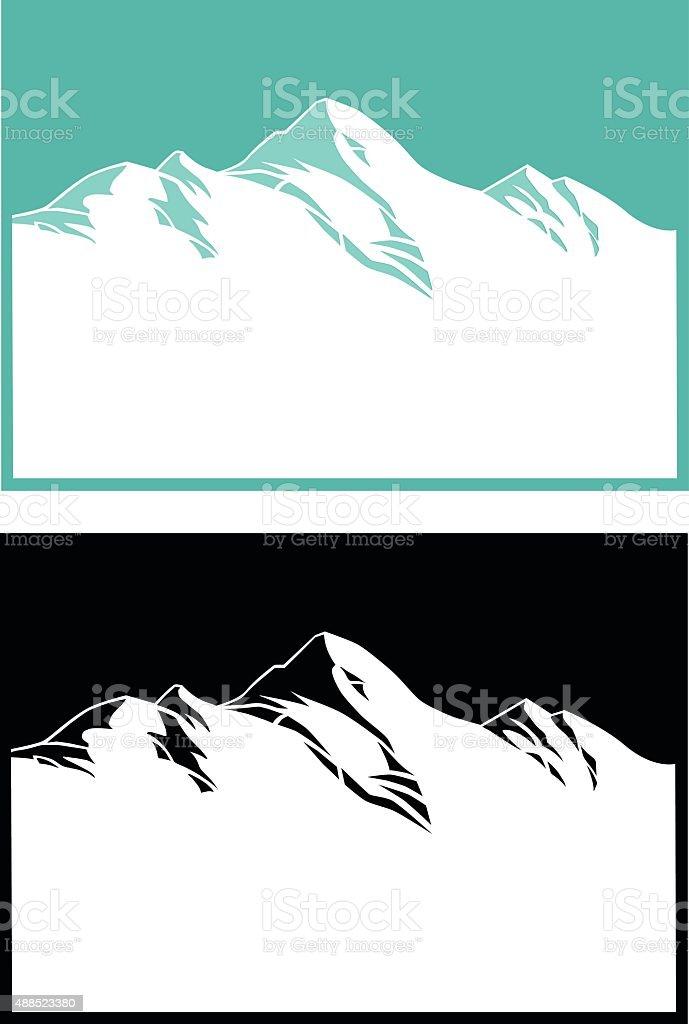 Mountain Range in Blue and Black vector art illustration