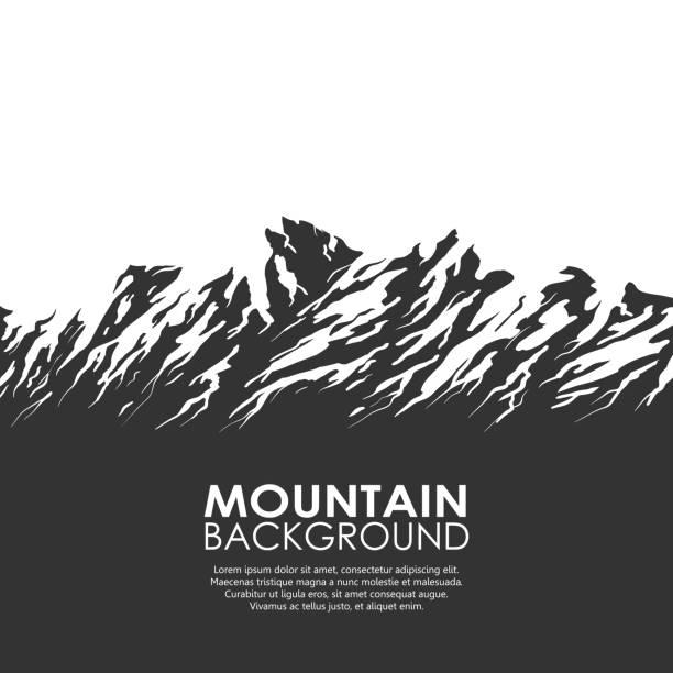 mountain range isolated on white background - black and white mountain stock illustrations, clip art, cartoons, & icons