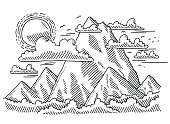 Hand-drawn vector drawing of a Mountain Range Landscape. Black-and-White sketch on a transparent background (.eps-file). Included files are EPS (v10) and Hi-Res JPG.