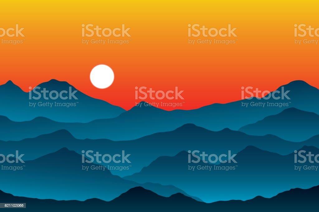 Couches De La Chaîne De Montagnes Au Coucher Du Soleil Illustration