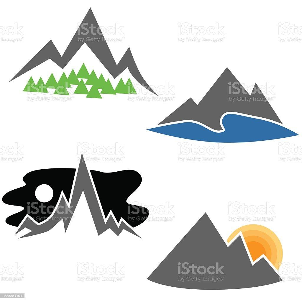 Mountain Range Set vector art illustration