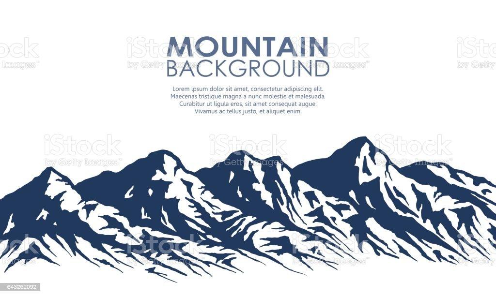 Bergkette Silhouette isoliert auf weiss. – Vektorgrafik