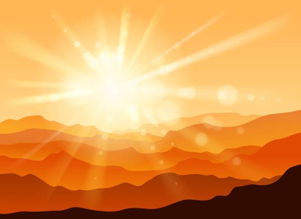 山の範囲 - 朝日点のイラスト素材/クリップアート素材/マンガ素材/アイコン素材