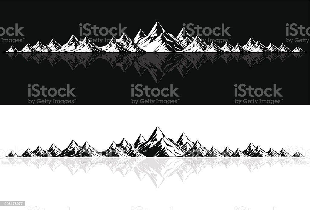 Mountain Range with Reflection vector art illustration